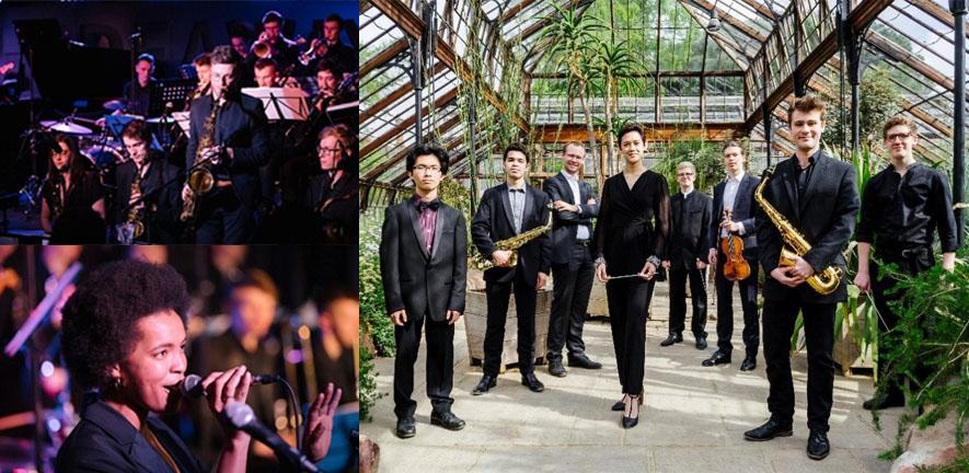 Cambridge University Jazz Orchestra, copyright Hideaway Streatham. Conducting and Concerto Competition Winners, Cambridge University Musical Society, copyright Tom Porteous, with kind permission of Cambridge University Botanic Garden.