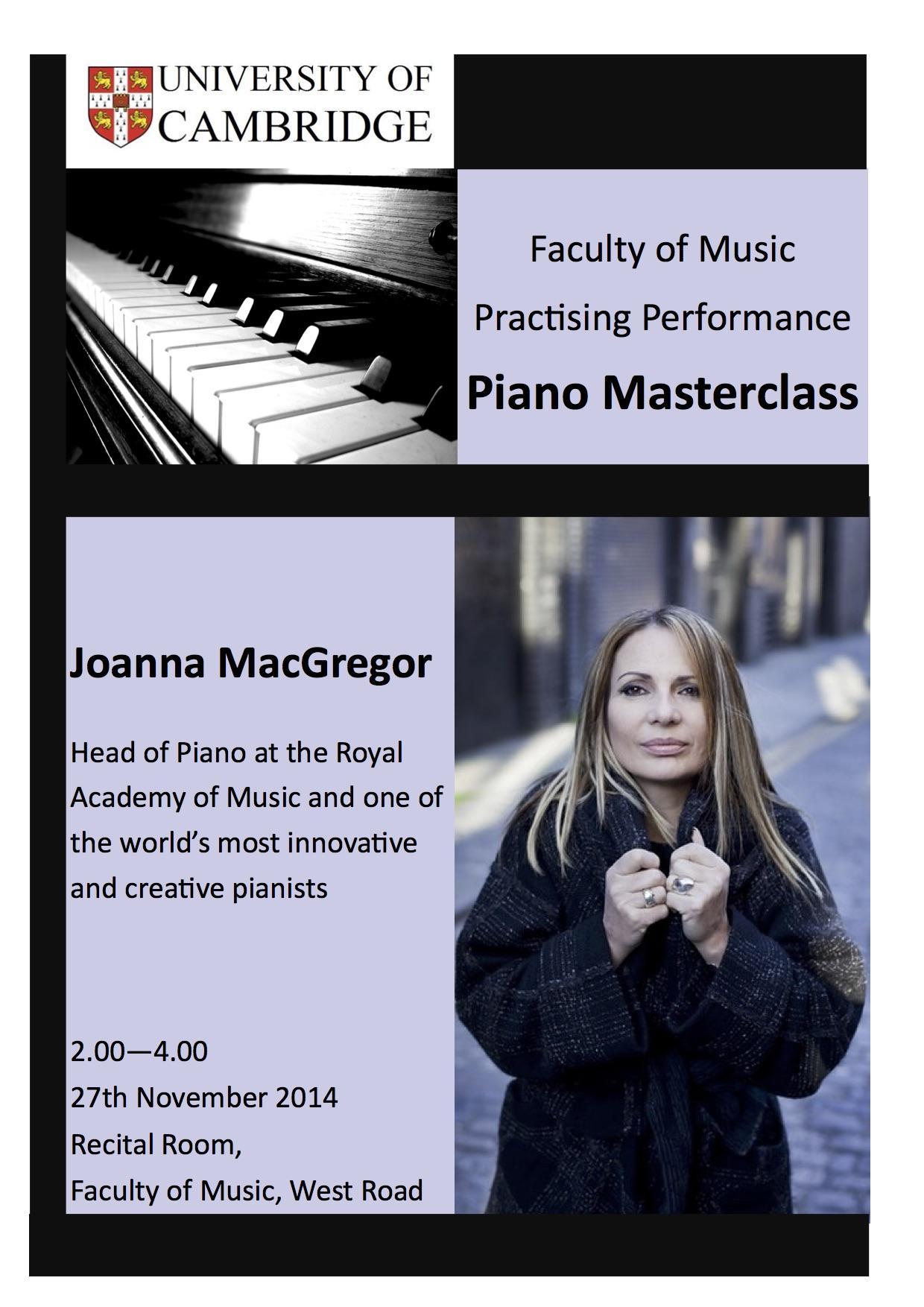 Joanna MacGregor Masterclass – 2.00pm, 27 November